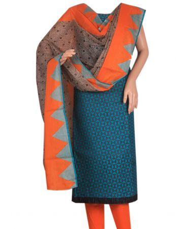 Green and orange combination pure cotton salwar suit