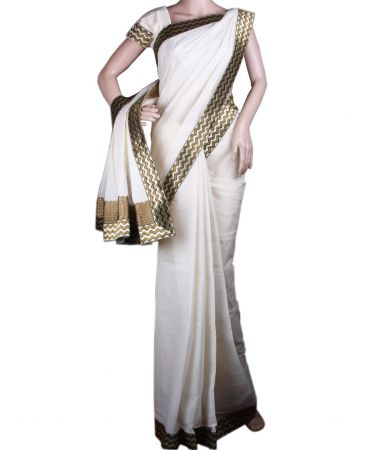Kerala kasavu saree with wavy lace border