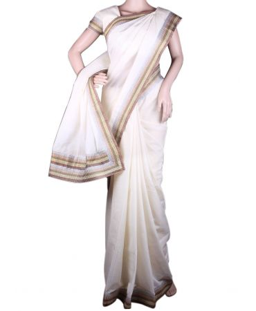 Kerala kasavu saree in ivory color with lace border