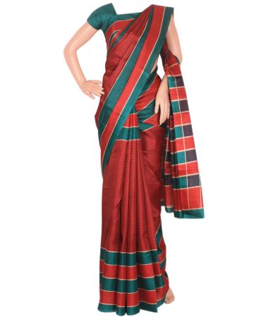 Red and teal green striped semi tussar saree