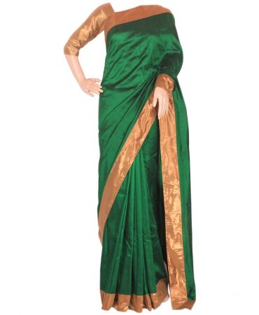 Forest green pure raw silk saree with shimmer  border