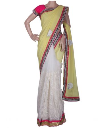 Davani type saree in pure georget and crochet material combination