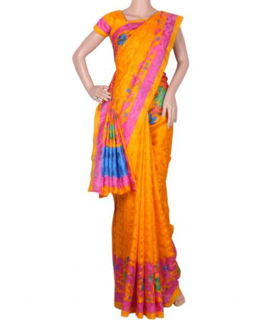 Jacquard super net saree in mango yellow shade