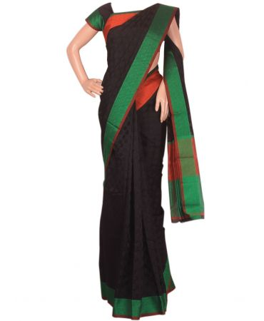 Black and green combination cotton silk saree