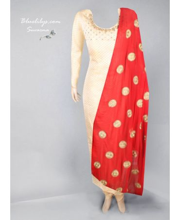 Brocade top with hand- embroidered and chiffon self embroidered dupatta
