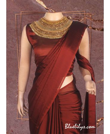 Beautiful satin Georgette saree  with  designer blouse