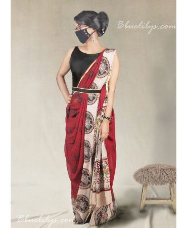 Multi color printed Georgette saree with black raw cotton blouse