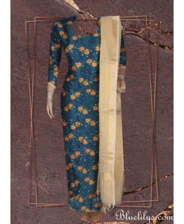 Mallard shade floral print top with golden net kota dupatta