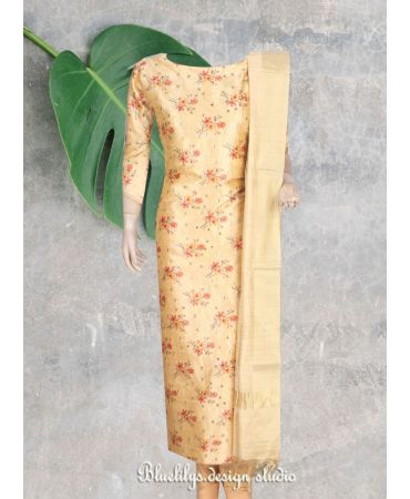 Yellow floral print  cotton satin with dupatta