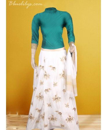 Chinnnon self embroidered skirt with green raw cotton top and dupatta