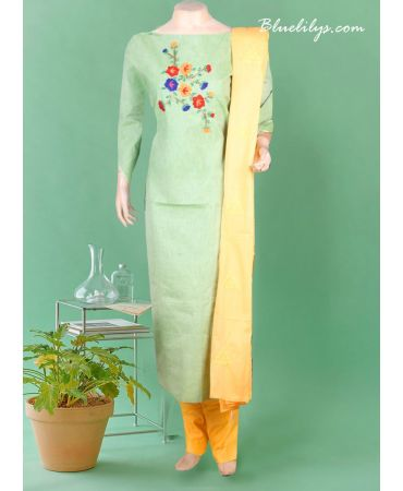 Semi mint linen with hand embroidery and yellow cotton dupatta