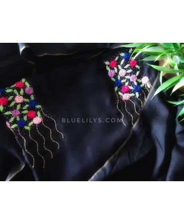 Black semi jute flowy suit with hand embroidery and semi jute dupatta