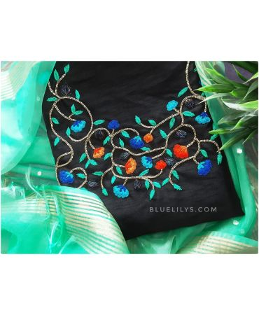 Black synthetic jute  top with hand embroidery and sea blue organza dupatta