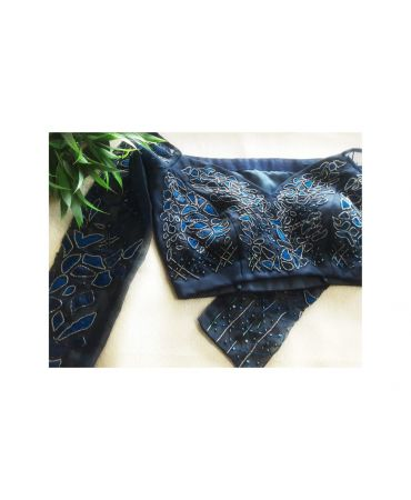 Nevy blue organza  with heavy hand- embroidered blouse