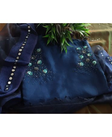 Nevy blue semi jute top with hand embroidery and organza dupatta