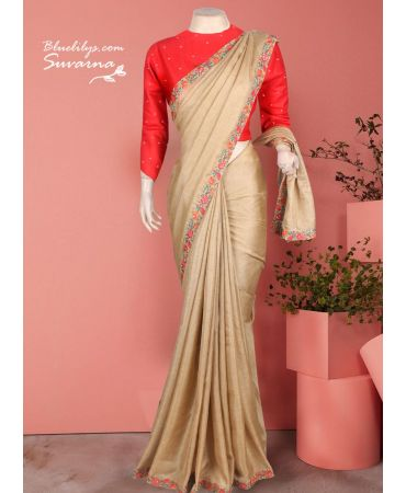 Pure jute with beautiful border and red blouse