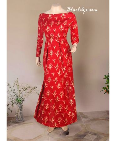 Unstitched red cotton printed kurti
