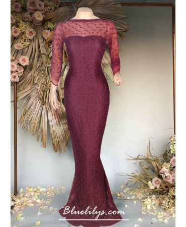 Unstitched Wine shade self design net gown
