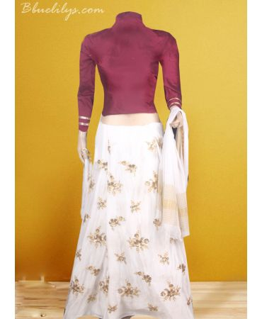 Chinnnon self embroidered skirt with burgundy shade raw cotton top and dupatta