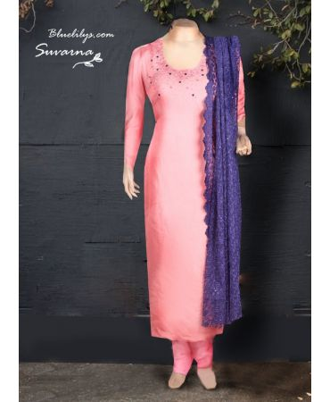 Camio pink shade semi jute with hand embroidery and desgner net dupatta