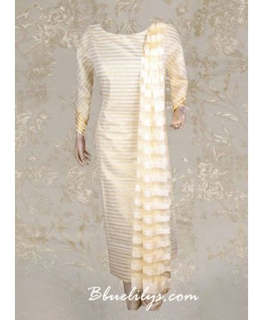 Tissue with golden stripe suit and net dupatta