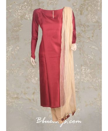 Semi silk maroon top with gold net dupatta