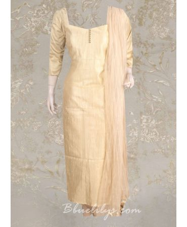 Antique  shade tissue suit with net dupatta
