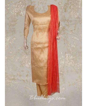 Dupion silk gold top with red net dupatta