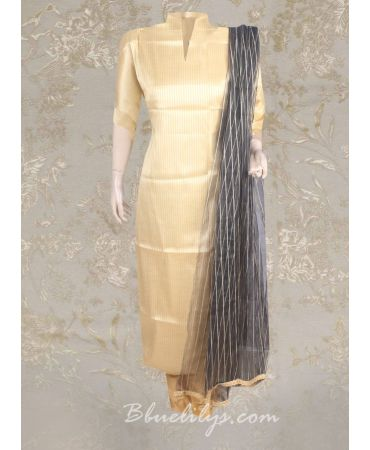 Tissue gold top with black net dupatta