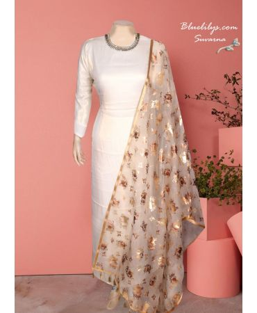 Satin gold and cream shade suit with hand embroidery and printed organza dupatta