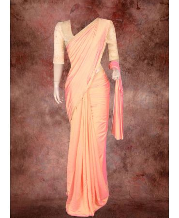 cantaloupe  shade soft semi silk saree with hand-embroidery organza blouse