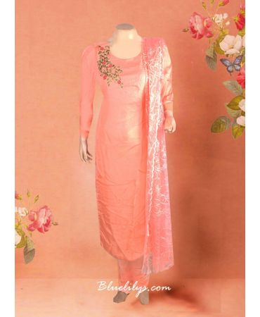 Peach semi jute top with hand embroidery and self design dupatta