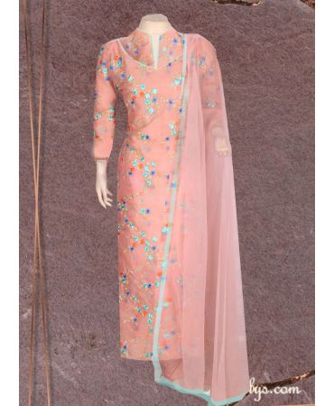 carnation pink floral embroidery organza top with net dupatta