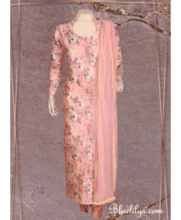 Peach melba shade cotton satin floral print top with net dupatta