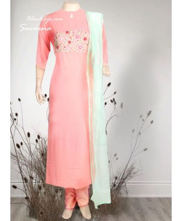 Peach georgette suit with hand embroidery  and  mint shade organza dupatta