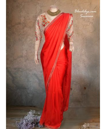 Cherry red flowy semi jute saree with organza hand embroidery blouse
