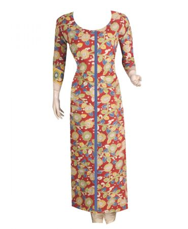 Unstitched red and multicolored kalamkari kurthi