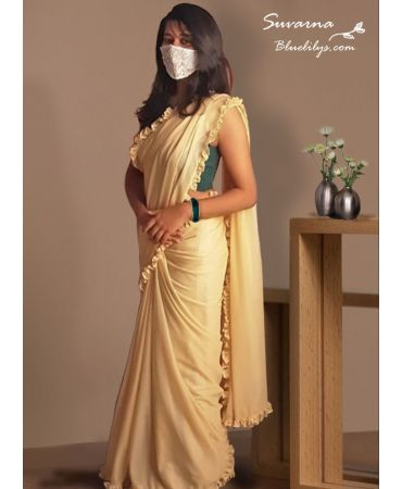 Stylish ruffles soft  net saree  in gold  color with sequins net designer blouse