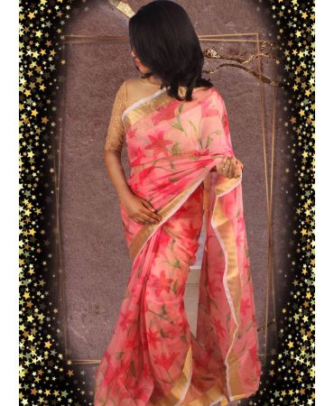 Dusty pink organza with complete floral saree