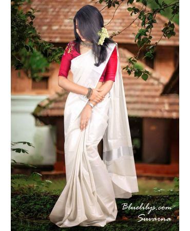 Beautiful Silver tissue Kerala saree