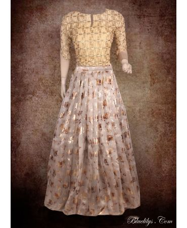 Unstitched  heavy orgenza beige with print skirt and golden embroidered net top