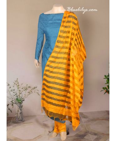 Dark tosca shade net cotta suit with yellow dupatta