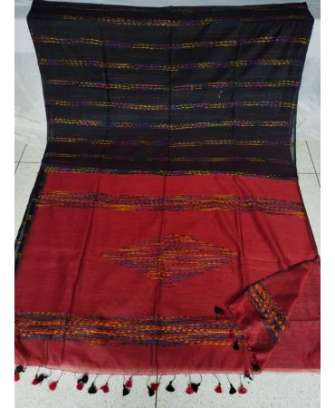 Beautiful black and red  multi color soft modal weaving silk saree