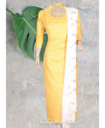 Unstitched yellow semi silk top with chinnon white dupatta